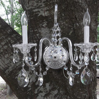SALE  crystal and glass wall sconce.  huge crystals and small ones.  all complete