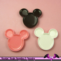 4 pc Miniature DECODEN PLATES Mouse Head Flatback Kawaii Cabochons 38 x 34 mm