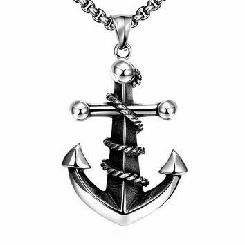 Men's Stainless Steel Anchor Necklace