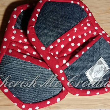 Modern recycled denim red mini oven mitts grip Polka hots potholders