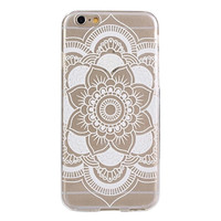 Carved Mandala Pattern Flower White TPU Soft Case Skin Cover For iphone 6s 4.7Inch Casual