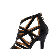 So Fine Black Caged Heels