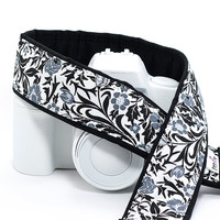 Floral dSLR Camera Strap, Black, White, Grey, Camera Neck Strap, Photographer Gift, Canon or Nikon, SLR, 26 ww