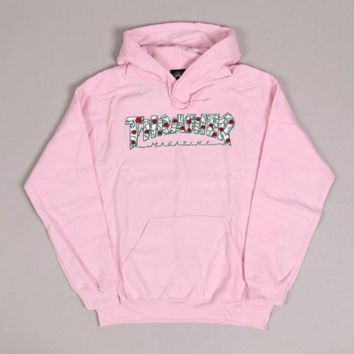 Thrasher Fashion Casual Roses Letter Print Long Sleeve Hooded Sweater