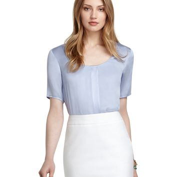 Short-Sleeve Silk Blouse - Brooks Brothers