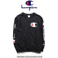 PEAPC8S Champion Casual Round Neck Letters Long Sleeve Letters Sweater