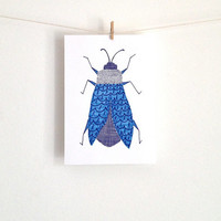 Bug Art in Blue Original Illustration of a Bug Hand Drawn using Ink and Marker 5X7 Art