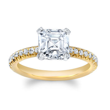 Ladies 14kt two tone engagement ring with 2 ct Asscher Cut White Sapphire center 0.30 carats of diamond in French Pave design
