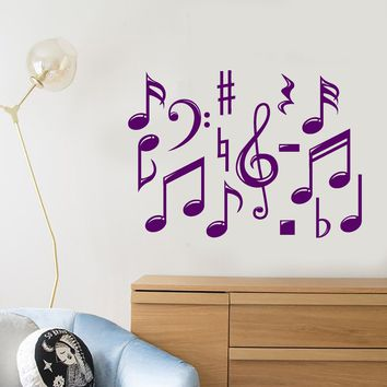 Vinyl Wall Decal Sheet Music Notes Сlef For Musician Stickers (3043ig)