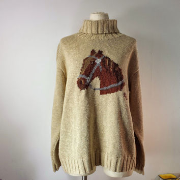 Vintage Women's RALPH LAUREN Horse Sweater - Hand Knit Turtleneck -Tan Sweater - Sz M