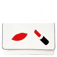 Kiss Lipstick Leatherette Clutch | MakeMeChic.com