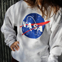 White NASA Print Loose Sweater