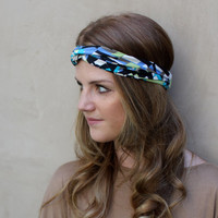 Thin Twisted Headband, Turband, Knotted Headband, Head Scarf, Hair Covering, Geometric, Black, White, Apple Green, Aqua, Periwinkle,Taupe