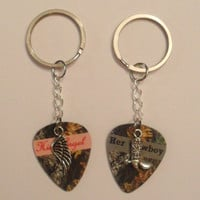 Her Cowboy boot His Angel wing charm guitar pick matching keychains set country love girl guy