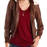 Hooded Faux Leather Bomber Jacket by Charlotte Russe