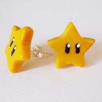 Stud Earrings  SUPER MARIO STARS  Gamer Girl Jewelry by FrozenNote