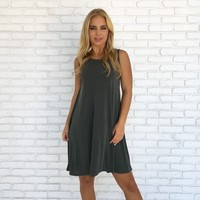 Scoop Back Jersey Dress in Olive