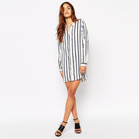 Striped V-neck Long Sleeve Button Down Mini Dress