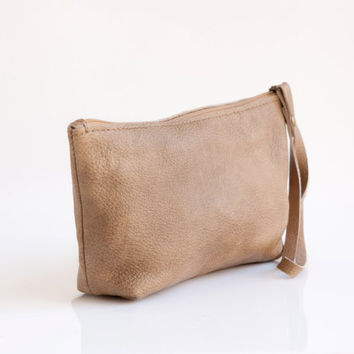 Beige leather pouch - Small leather purse - Women wallet - Leather wristlet