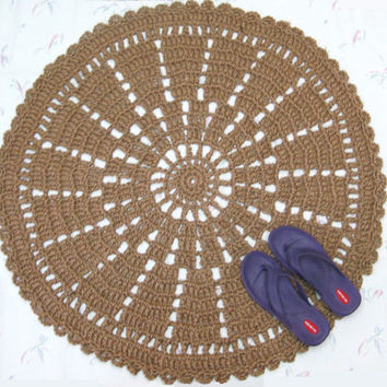 Large Round Jute Rug - Sustainable Fiber Rug - Round Throw Rug - Hypoallergenic Outdoor Rug - Wheel Rug - Round Mat - Primitive Decor