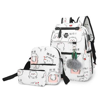 3 Pcs/set Women School Backpacks Teenagers