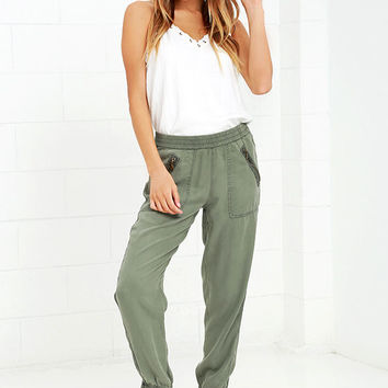 On the Road Aniston Washed Olive Green Jogger Pants