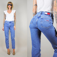 90's TOMMY HILFIGER High waist SKINNY jeans Grunge Straight Leg Classic Blue Denim xs / small