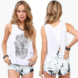 White Lucky Hand Of Fatima  Halter Open Back Top