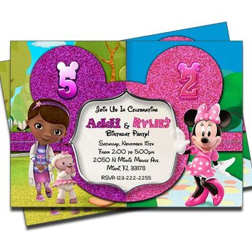 Doc McStuffins and Minnie Mouse - Double Birthday Invitations