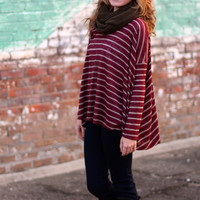 Striped in Love Top {Wine}