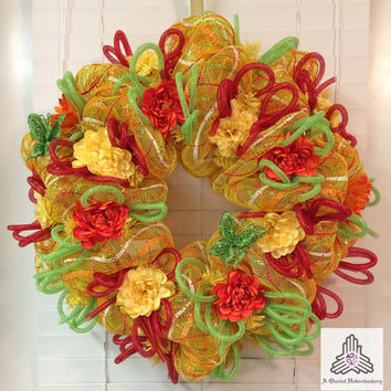 Summer Citrus Deco Mesh Wreath
