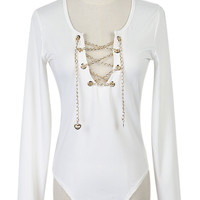 White Deep Plunge Neck Chain Lace Up Long Sleeve Bodysuit