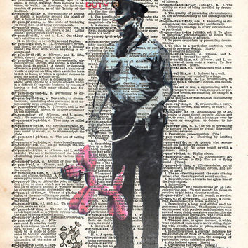 Banksy security guard print, Banksy art balloon dog, book page art