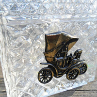 Vintage Glass DECANTER with Carriage/Buggy Emblem