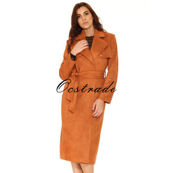Free Shipping Hot New Tan Suedette Trench Coat for Women 2016 Fashion
