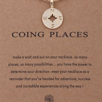 Going Places Gold Compass Necklace