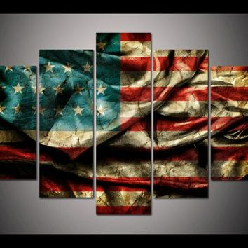 5 panel large poster printed canvas painting Retro American flag canvas print art home decor wall art pictures for living room