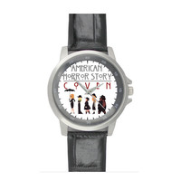 American Horror Story Coven Black Leather Alloy Watch