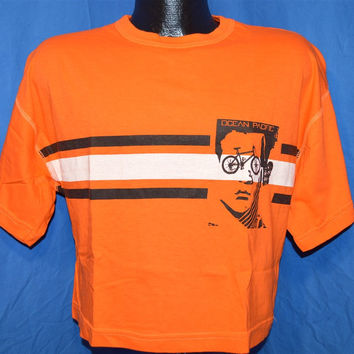 80s Ocean Pacific OP Bicycle Face Orange Half Shirt Crop t-shirt Medium