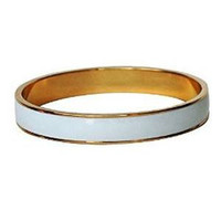 Enamel Bangle Bracelet 16k Gold Plated White