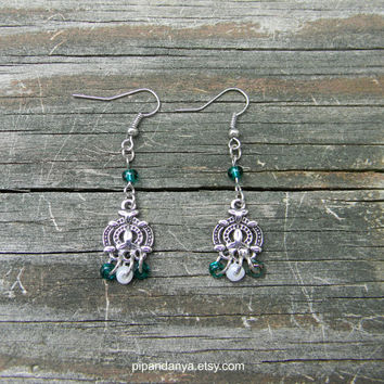 Dangle Earrings, Green Glass Beads