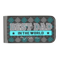 Best Dad in the World Argyle Patterned Gunmetal Finish Money Clip