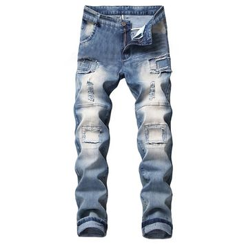 Fashion Men's Stretchy Pants Ripped Skinny Biker Jeans Taped Slim Fit Streetwear Destroyed Stretchy Pants Zipper Fly Men's pant