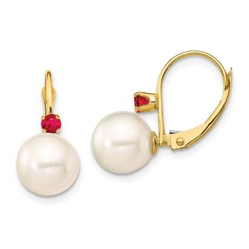 14k Yellow Gold 8-8.5 mm White Pearl Ruby Leverback Earrings