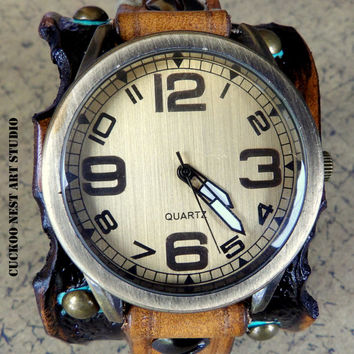 Leather Watch, Womens Watch, Wrist Watch, Vintage looking Leather Watch, Bracelet Watch, Distressed Watch