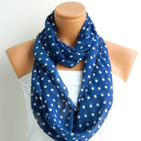 blok scarf,polka dot scarf,Darkblue and white polka dot Infinity Scarf  Chiffon Loop Infinity Scarves. Circle Scarf ,Womens Accessories.