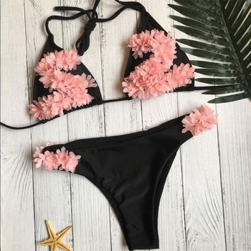 Summer Beach Hot New Arrival Swimsuit Swimwear Sexy Ladies Floral Decoration Bikini [510293835830]