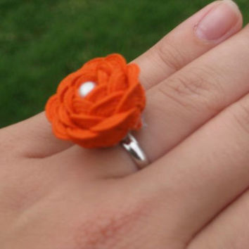 Vintage Inspired Pearl Rosette Ring in Bright Orange - Adjustable