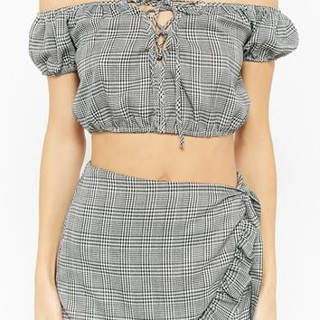 Glen Plaid Off-the-Shoulder Lace-Up Crop Top