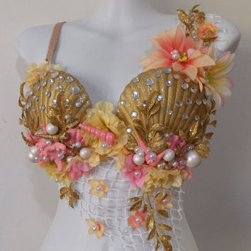 Mermaid Goddess - Rave bra, Shell bra, shells, pearls, peach flowers, rhinestones, glitter, star fish